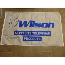 VINTAGE WILSON SATELLITE TELEVISION PRODUCTS ADVERTISING FLAG